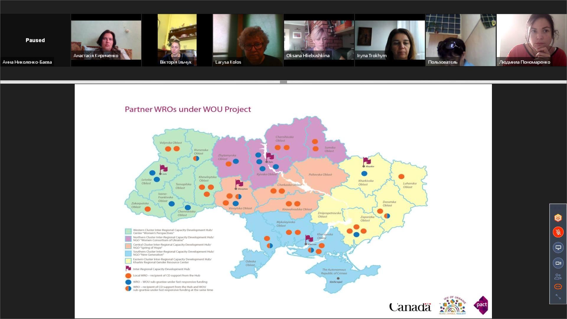 Зустріч жіночих організацій проєкту Пакту «Жінки України: залучені, спроможні, незламні»